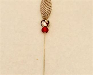 "$40; Hand crafted stick pin; approx 4"" long"