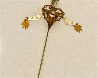 """$50; Beth Piver Hand crafted stickpin; approx 5"""" length"""
