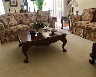 Floral sofa and love seat, beautiful large coffee table