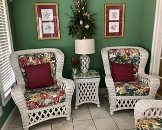 Wicker matching chairs and side table