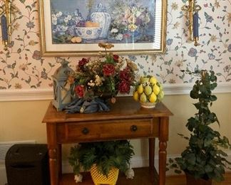 Serving table, silk plants and more