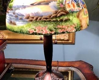 Painted shade lamp