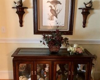 Display cabinet, glass top and doors, wall sconces and more