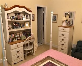 White bedroom  furniture, desk and tall chest.