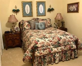 Rare French Provincial full bed, bedside tables, lamps pictures and more