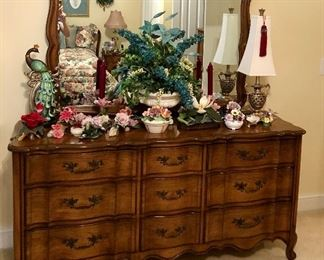French provincial 9 drawers dresser with large matching mirror.