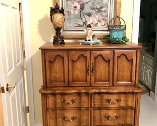 French Provincial  chest, very cute piece of furniture, hummingbird picture!