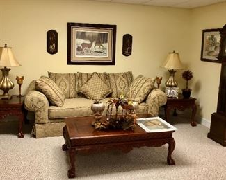 Wood carved side tables and matching coffee table, Emperor Grandfather clock made in West Germany, gold sofa