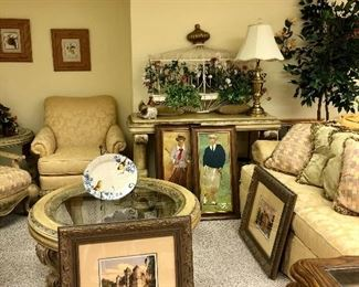 Gold living room set, art work, and more