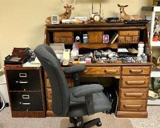 Oak roll top desk, metal file cabinet , office chair
