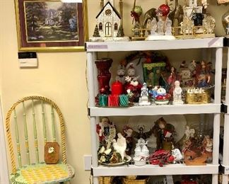 Churches that light up, nativities, glitter deer and brass deer, Santa cookie jars, Santa's, Angels, VHS and  DVD players, Wii and more