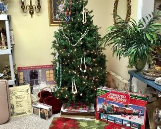 5ft Christmas tree, rug, Christmas train and more