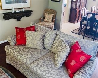 """$375 FLORAL TAUPE UPHOLSTERED LOVESEAT 75""""L x 34""""D x 33""""H"""