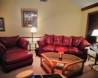 Leather Couch and Large Chair Suite