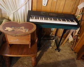 side table, heart wood storage box