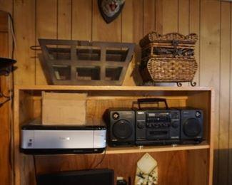 stereo, printer, baskets