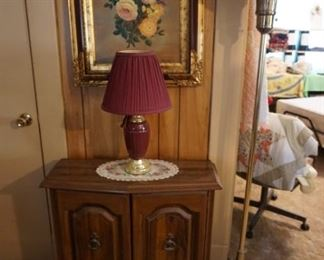 entry table, lamps. wall decor