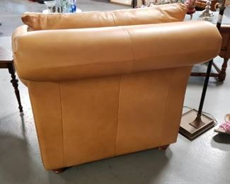 Butter Colored High Quality Italian Leather studded Arm Chair $595