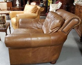 Brown Distressed leather oversized studded arm chair $395