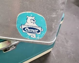LARGE RARE CRONCO COOLER WITH PADDED SEAT ICE CHEST ALUMINUM ORIGINAL 1950'S  $150