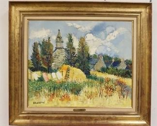 1001	YOLANDE ARDISSONE OIL PAINTING ON CANVAS SAINT-LAURENT, FRENCH BORN 1927 SIGNED LOWER LEFT CORNER PAINTING SIZE 25 1/2 IN X 21 1/4 IN, FRAME 33 1/2 IN X 29 1/2 IN