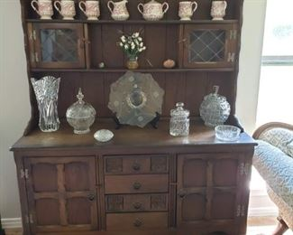 1930's era Hutch (2 pieces) with Leaded Glass Upper Doors - FANTASTIC Crystal pieces!
