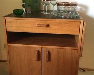008D. MCM Teak Bar Cabinet w Arm  misc