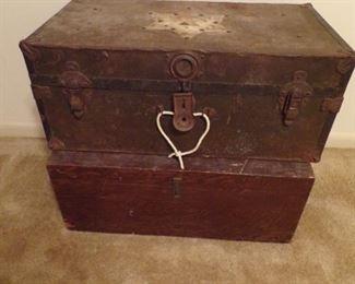 pair vintage trunks