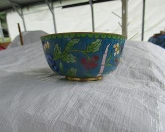 Cloissone bowl of flowers.