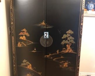 """Oriental computer/storage unit (43""""W x 24""""D x 66""""H) The doors open and slide back / workspace condensed ASKING $650"""