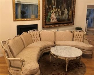 """Vintage sofa (measurements from left to right per section) Section 1: 48""""L x 33""""D x 17""""H from floor to seat  Section 2 (the curved section): 64""""W x 33""""D x 17""""H from floor to seat  Section 3:  48""""L x 33""""D x 17""""H from floor to seat - floor to top of back of sofa is 33""""H - Paid $1,600 (ASKING $600)"""