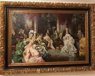 "Josephine (Napoleon Bonaparte's wife) entertaining in her court by Foselli. Massive 4'x6' canvas painting with a 9"" frame surrounding the canvas oil painting which has black and gold inlays and accents. Asking $5,000"