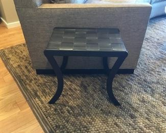 Leather Basket Weave Stool/Side Table with Metal Legs (W = 13-1/4 in  x  L=18-1/4in x  H=18 in )