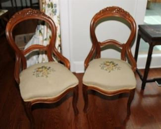 Pair of needle point Victorian Chairs