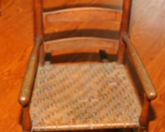 Antique Child's Rush Seat Rocker
