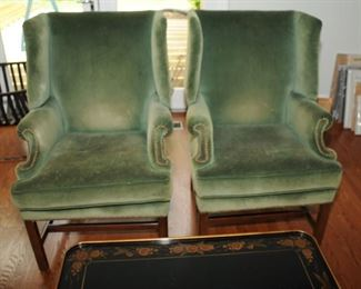 Pair of wing back upholstered chairs
