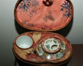 Chinese Antique Rose Medallion 19th Century Teapot and Cup in a Wicker Basket