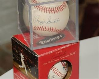 LIVE INK OZZIE SMITH AUTOGRAPH NATIONAL LEAGUE BASEBALL & A COCA COLA PRINTED SAINT LOUIS WORLD SERIES BALL