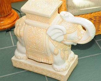 PAIR OF CERAMIC ELEPHANT END TABLES