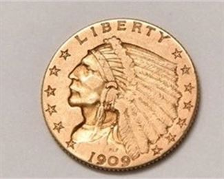 1909 $2.50 Gold Indian Head Liberty Piece