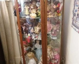 lighted curve glass china and dolls