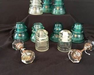Antique Door Knobs and Vintage ATT Glass Insulators
