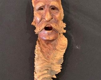 """Wood Spirt Carving Signed by L. Arends  9""""t by 3""""w"""