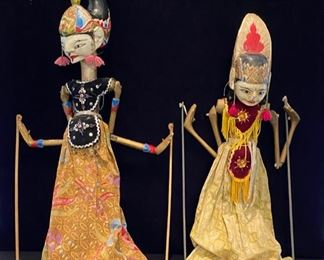 Indonesian Wooden Painted Rod Puppets