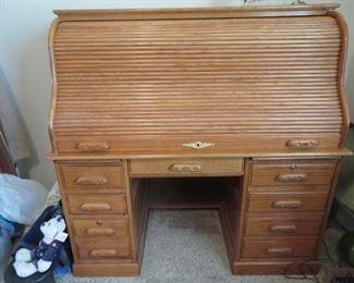 """nice roll top desk 33"""" deep, 54"""" wide,  54"""" tall"""