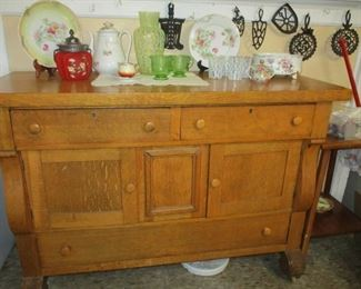 Oak buffet & Victorian glass & china