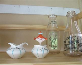 milk bottles & Holt Howard sugar & creamer