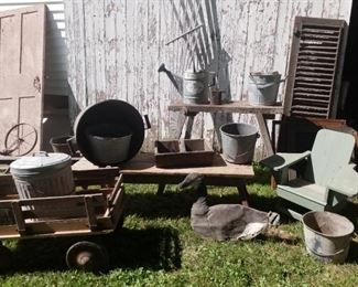 metal buckets, wooden wagon & benches