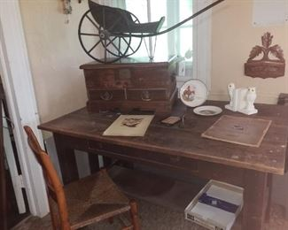 Mission desk, doll cart & document chest