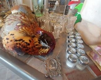 MINI SALT & PEPPER SHAKERS & STUFFED PHEASANT